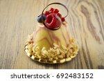 dessert on a beautiful wooden...   Shutterstock . vector #692483152