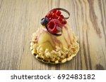 dessert on a beautiful wooden...   Shutterstock . vector #692483182