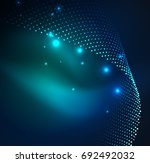 3d illuminated wave of glowing... | Shutterstock . vector #692492032