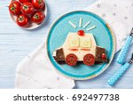 funny sandwich with cheese and...   Shutterstock . vector #692497738
