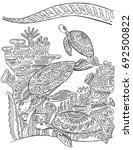 sea turtles underwater with... | Shutterstock .eps vector #692500822