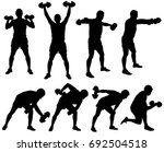 silhouette of man working out... | Shutterstock .eps vector #692504518