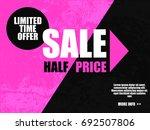 sale half price banner in black ... | Shutterstock .eps vector #692507806