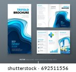 tri fold brochure design. blue... | Shutterstock .eps vector #692511556