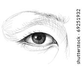 asian eye   realistic sketch ... | Shutterstock .eps vector #69251932