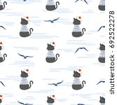seamless marine pattern with... | Shutterstock .eps vector #692522278