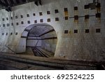 Tiled tunnel in abandoned underground nuclear physics laboratory, Sukhum, Abkhazia