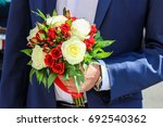 red and white roses and... | Shutterstock . vector #692540362