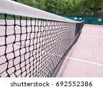 tennis net in a tennis court