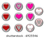 red and pink heart icons on... | Shutterstock . vector #6925546
