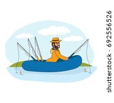 fisherman cartoon character... | Shutterstock .eps vector #692556526