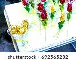peace of homemade red green... | Shutterstock . vector #692565232