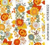 vector flower pattern. seamless ... | Shutterstock .eps vector #692583022
