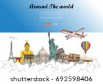 travel around the world and... | Shutterstock .eps vector #692598406