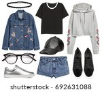 set of stylish clothes woman...   Shutterstock . vector #692631088