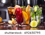 whiskey cola cocktail  mojito...   Shutterstock . vector #692650795