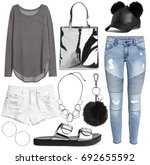 set of stylish clothes woman...   Shutterstock . vector #692655592