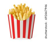Small photo of French fries in red striped box on white background