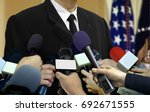 media press interview with... | Shutterstock . vector #692671555