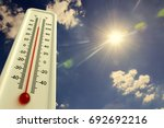 heat  thermometer shows the... | Shutterstock . vector #692692216