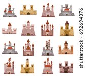 castle tower icons set. cartoon ... | Shutterstock .eps vector #692694376