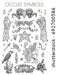 graphic set with occult symbols ... | Shutterstock .eps vector #692700586