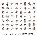 brown vector tribal symbols set ... | Shutterstock .eps vector #692709172