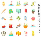 carefree life icons set.... | Shutterstock .eps vector #692709958