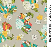 tropical seamless pattern with... | Shutterstock .eps vector #692713036