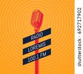 vector vintage microphone radio ... | Shutterstock .eps vector #692717902