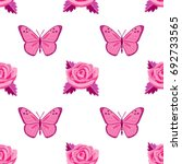 pink roses and butterflies... | Shutterstock .eps vector #692733565