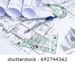 architectural blueprints and... | Shutterstock . vector #692744362