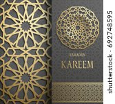 3d ramadan kareem greeting card ... | Shutterstock .eps vector #692748595