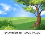 beautiful tree and green grass... | Shutterstock .eps vector #692749102
