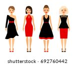 women in retro dresses on white ... | Shutterstock . vector #692760442