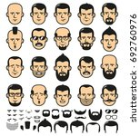 set of men faces template with... | Shutterstock .eps vector #692760976