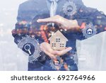 double exposure business man... | Shutterstock . vector #692764966