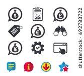 money bag icons. dollar  euro ...