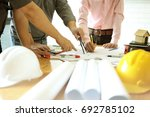 business objects of team... | Shutterstock . vector #692785102