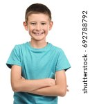 Small photo of Cute little boy on white background