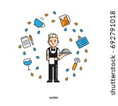 waiter. set of vector isolated... | Shutterstock .eps vector #692791018