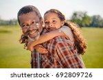 happy african american... | Shutterstock . vector #692809726