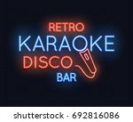retro disco karaoke bar neon... | Shutterstock .eps vector #692816086