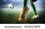 soccer goal moment. mixed media   Shutterstock . vector #692817895