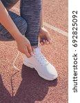 sport girl workout. young girl...   Shutterstock . vector #692825092