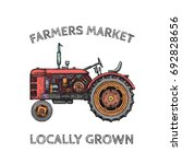 vintage agricultural tractor ... | Shutterstock .eps vector #692828656