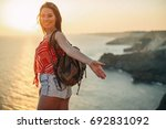 the woman is traveling | Shutterstock . vector #692831092