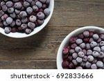 frozen sour cherry | Shutterstock . vector #692833666