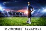 little soccer champion. mixed... | Shutterstock . vector #692834536