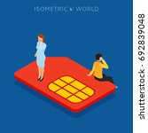 sim card flat isometric concept ... | Shutterstock .eps vector #692839048